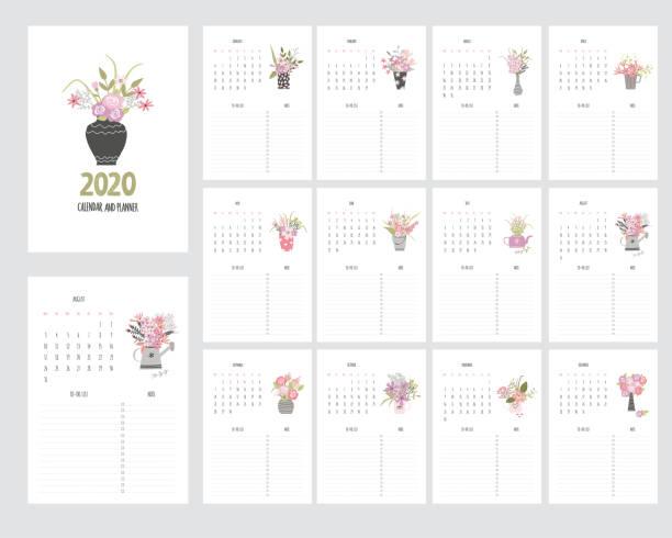 ilustraciones, imágenes clip art, dibujos animados e iconos de stock de calendario de sorteo sin mano 2020 y planificador con flores de jardín - calendario de flores