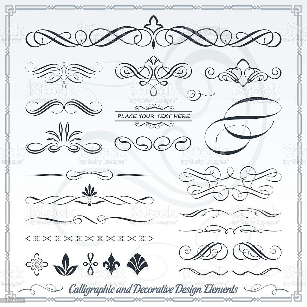 Main dessiner et Decorative Calligraphic Design Elements - Illustration vectorielle