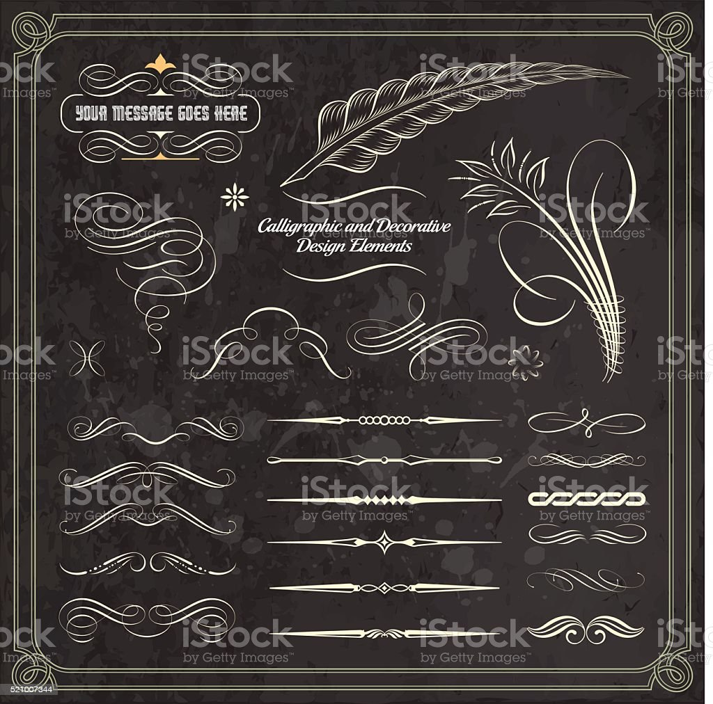 Hand Draw Calligraphic and Decorative Design Elements vector art illustration