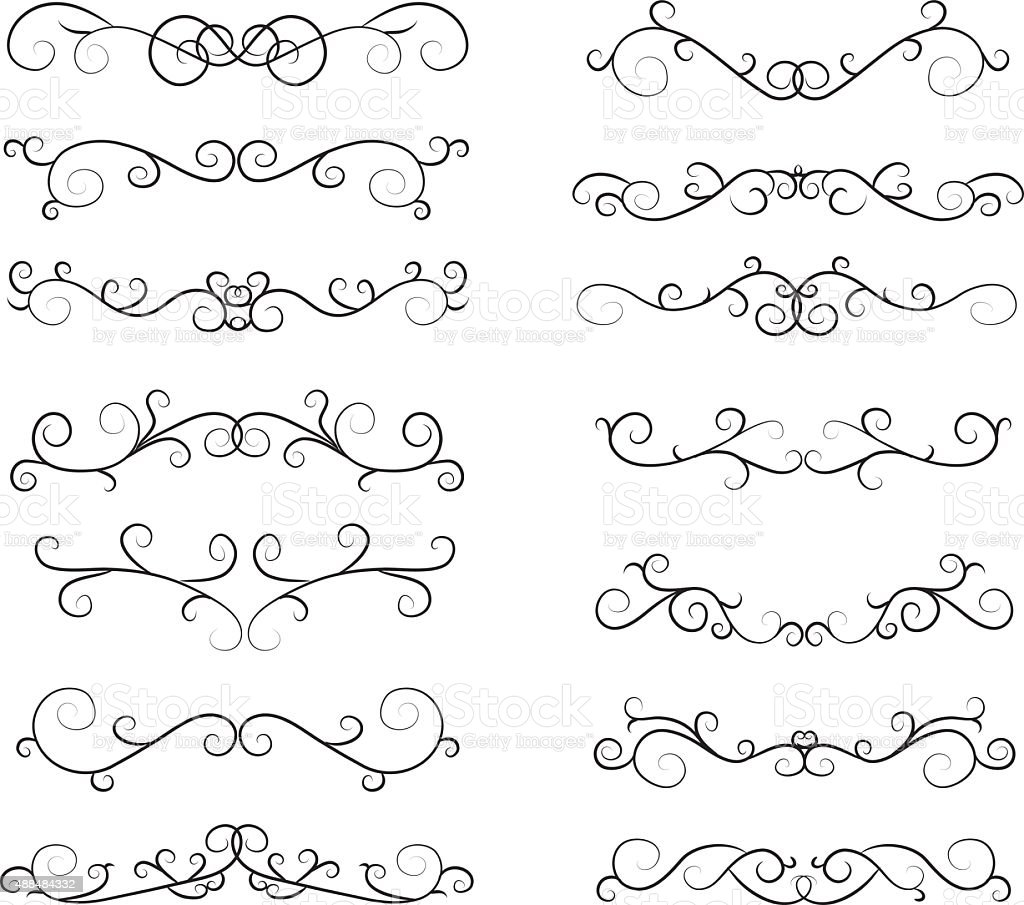 Hand Draw Calligraphic Elements vector art illustration