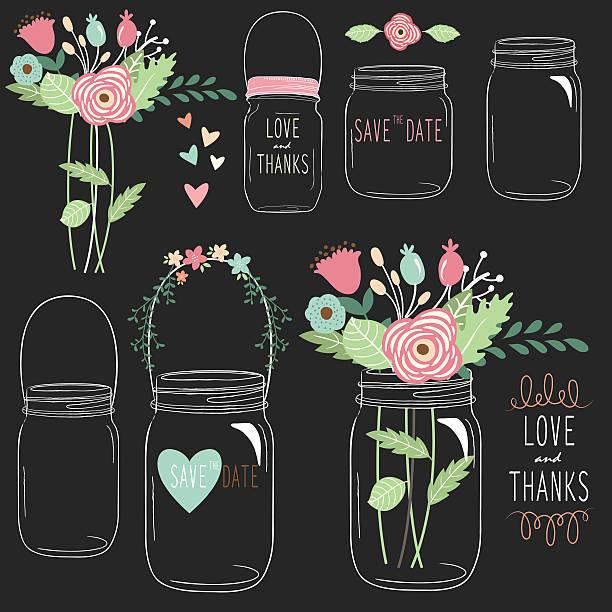 hand zeichnen tafel hochzeit mason jar- illustrationen - glasblumen stock-grafiken, -clipart, -cartoons und -symbole