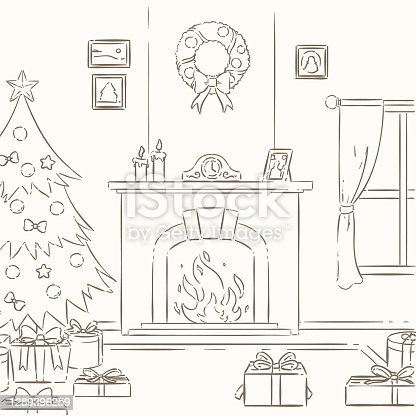 istock Hand Draw Christmas Fireplace Scene 1289396259