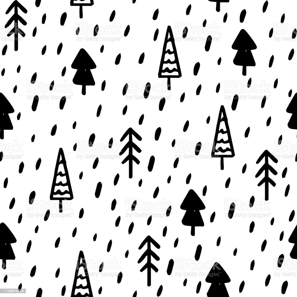 Hand Draw Christmas Tree Seamless Pattern in Doodle style. Vector...