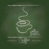 Hand drawn cup icon on green chalkboard background. Vector illustration