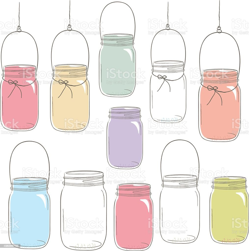 Hand Draw Colorful Mason Jar Illustration Stock ...