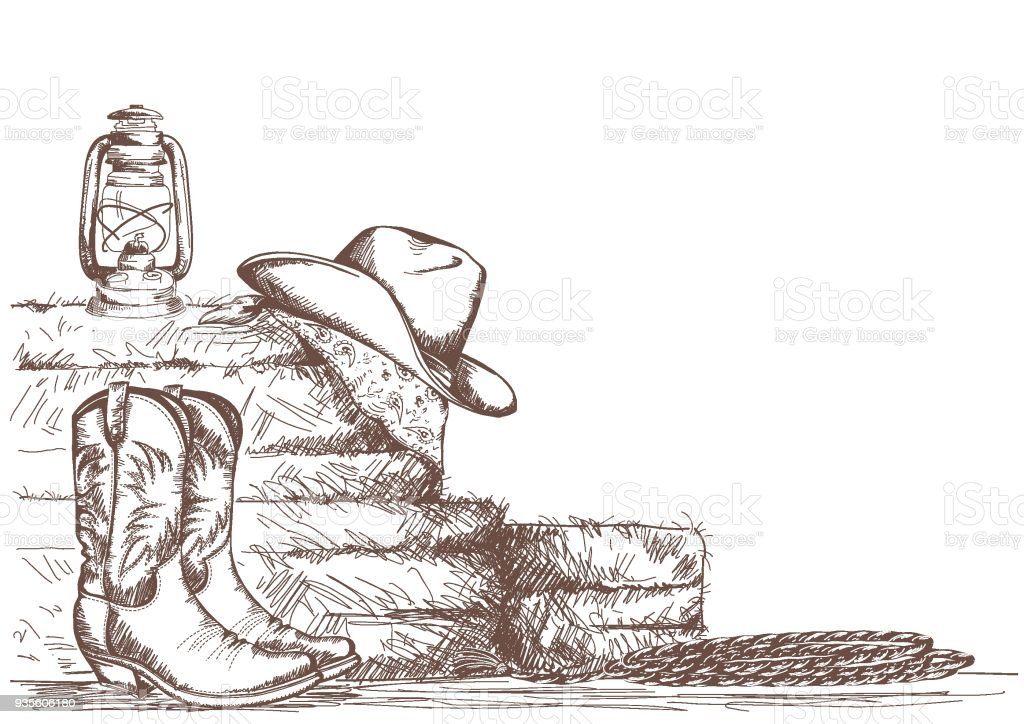 hand draw cowboy background with western boots and west hat in ranch. vector art illustration