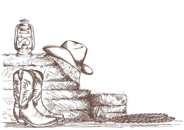 hand zeichnen cowboy hintergrund mit westernstiefeln und west hut in ranch. - cowboystiefel stock-grafiken, -clipart, -cartoons und -symbole