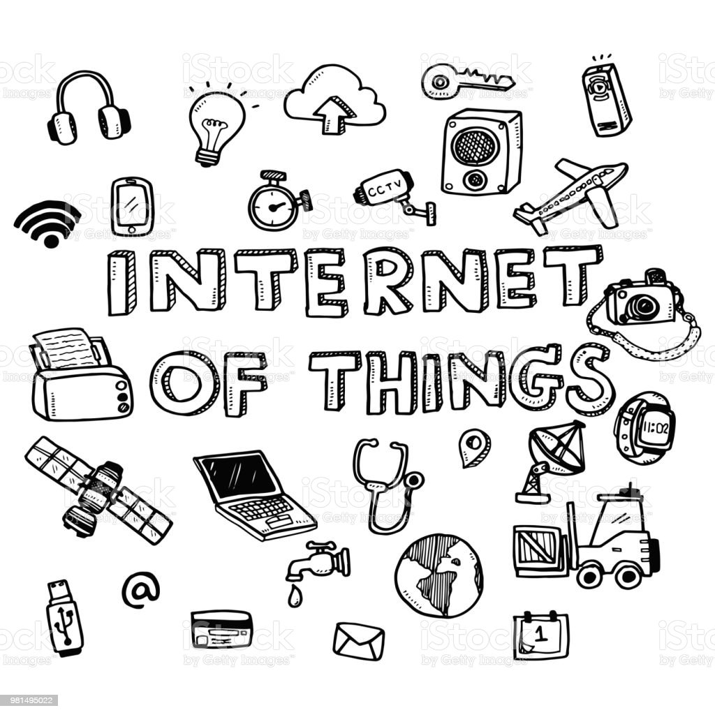 Hand Draw Cute Doodles With Varieties Of Internet Of Things Icons