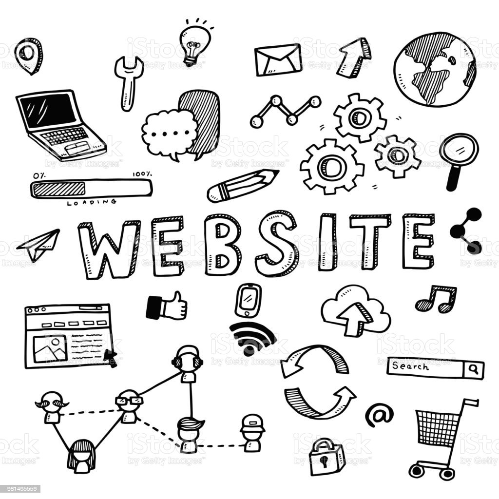 hand draw cute doodles with varieties of website icons and words set