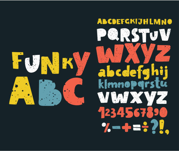Hand draw doodle abc, alphabet grunge scratch type font vector illustration. Vector set Alphabets. Cute colorful English alphabet, vintage font on dark background, bold, funny hand written capital ABC. Lowercase and uppercase letters, numbers and sigst on dark background alphabet drawings stock illustrations