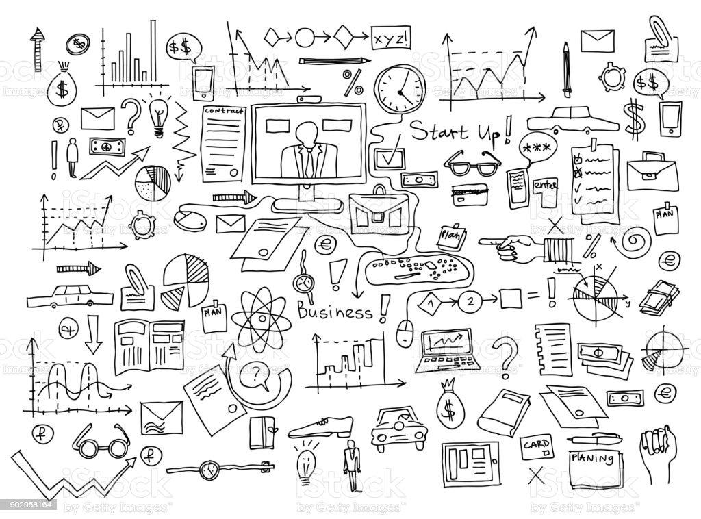 Hand draw doodle elements. Business finance chart graph vector art illustration