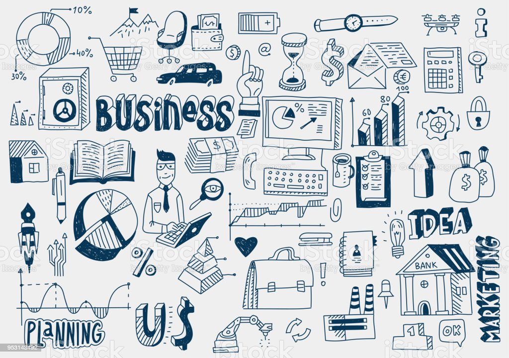 Hand Draw Doodle Elements Money Charts Graphs Business Finance