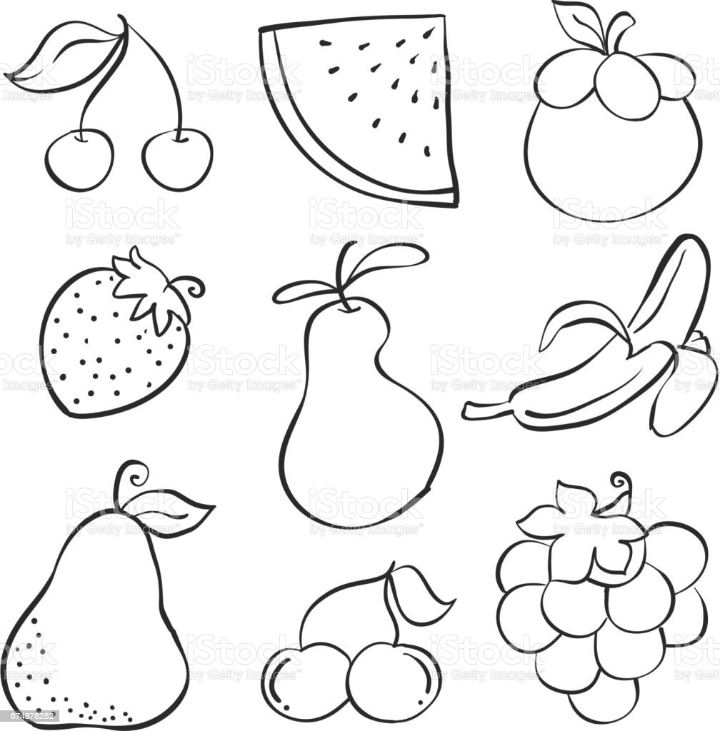 hand draw fruit various style doodles vector illustration royalty free stock vector art