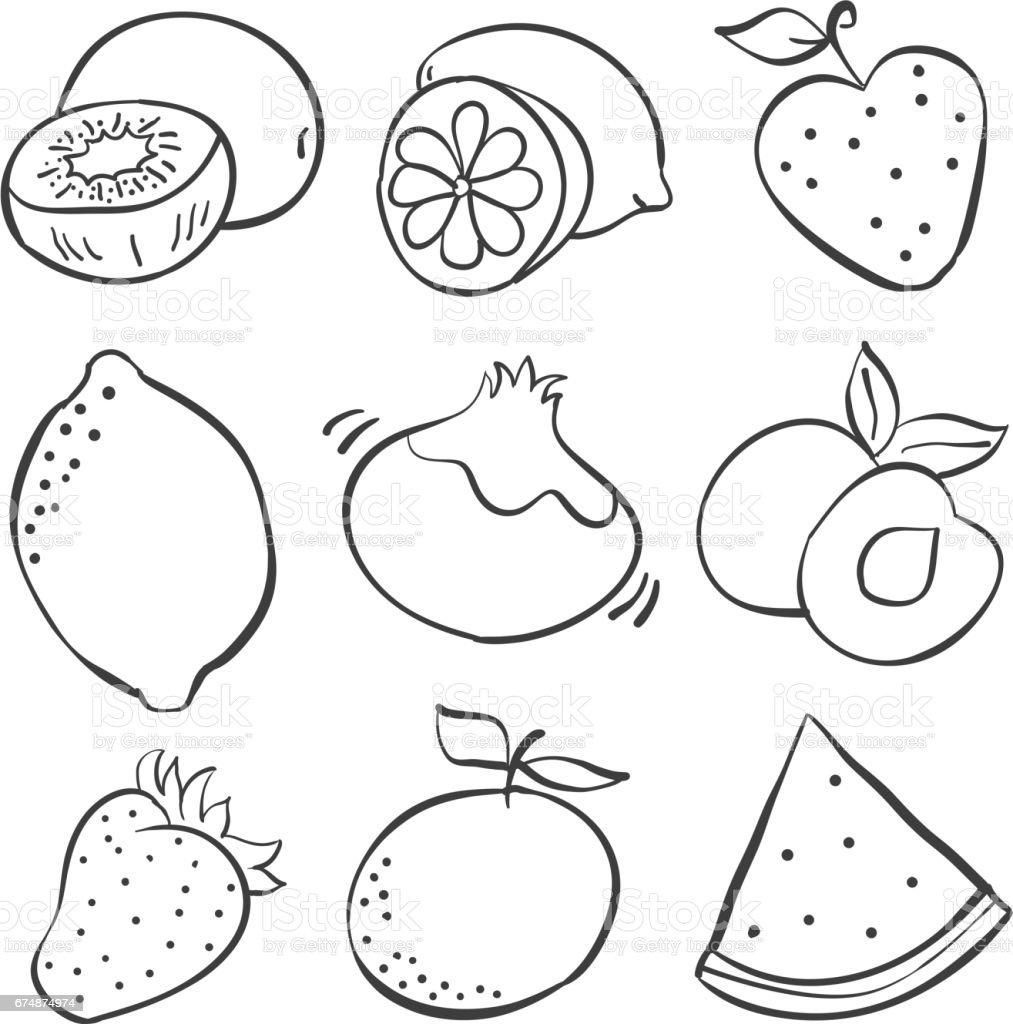 Hand Draw Fruits Of Doodles Vector Illustration Stock Vector Art