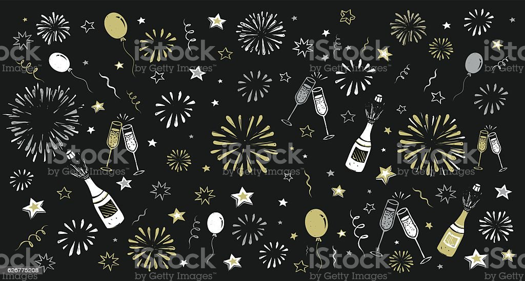 hand draw happy new year background vector art illustration