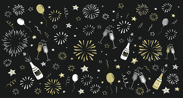 hand draw happy new year background hand draw happy new year background, eps 8 fireworks illustrations stock illustrations