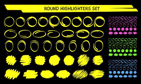 Hand draw highlight marker circle frame vector set