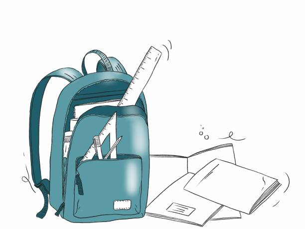 Hand draw illustration of a school bag with stationery objects vector art illustration