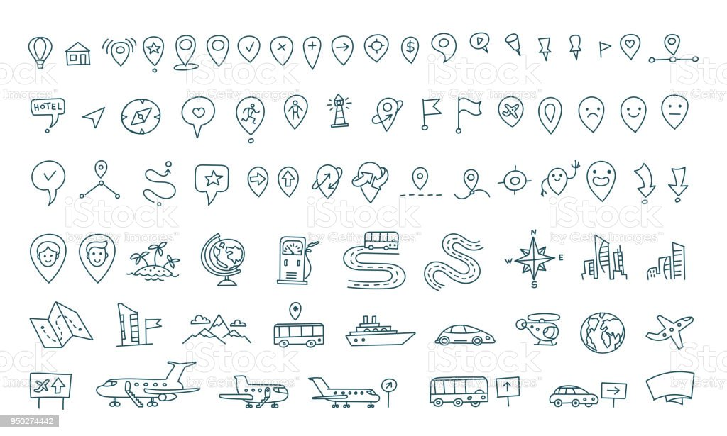 hand draw map set elements transport tracking travel geography road icons sketch set outline