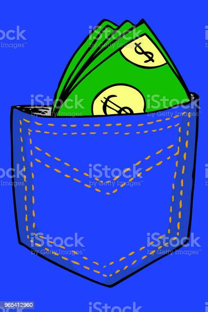 손 그리기 다시 주머니에 돈을 개념에 대한 스톡 벡터 아트 및 기타 이미지