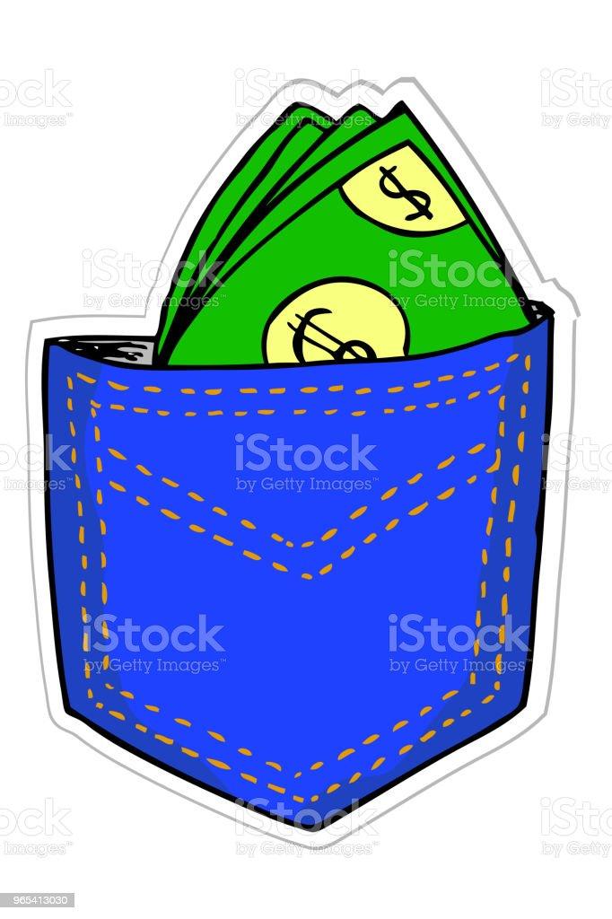 main dessiner argent au dos poche - clipart vectoriel de Activité bancaire libre de droits