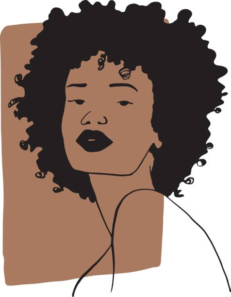 Hand draw outline portrait of african ebony woman with light bown sample color. Abstract colletion of different people and skin tones. vector art illustration