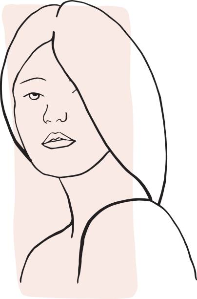 Hand draw outline portrait of an Albino woman with pale sample color. Abstract colletion of different people and skin tones. vector art illustration