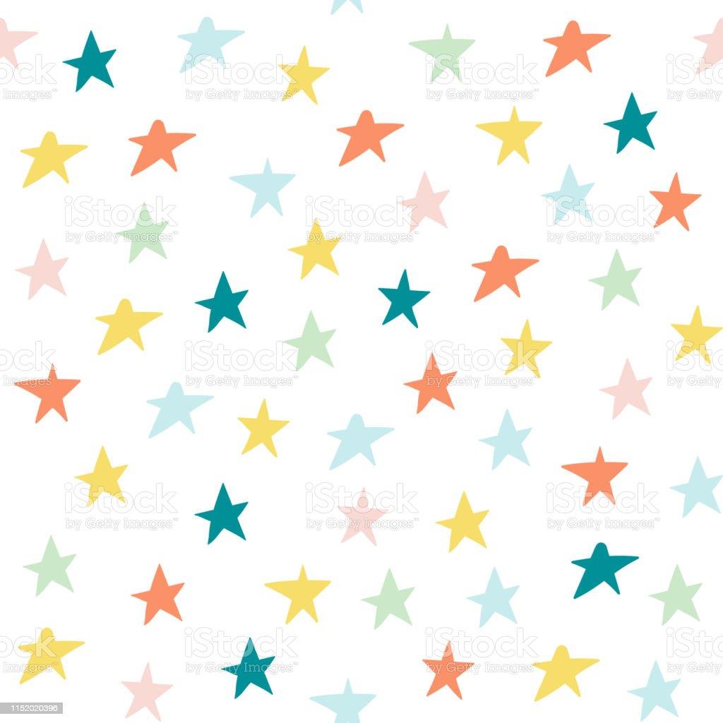 à La Main Dessiner Pastel Couleur étoiles Sans Soudure Fond