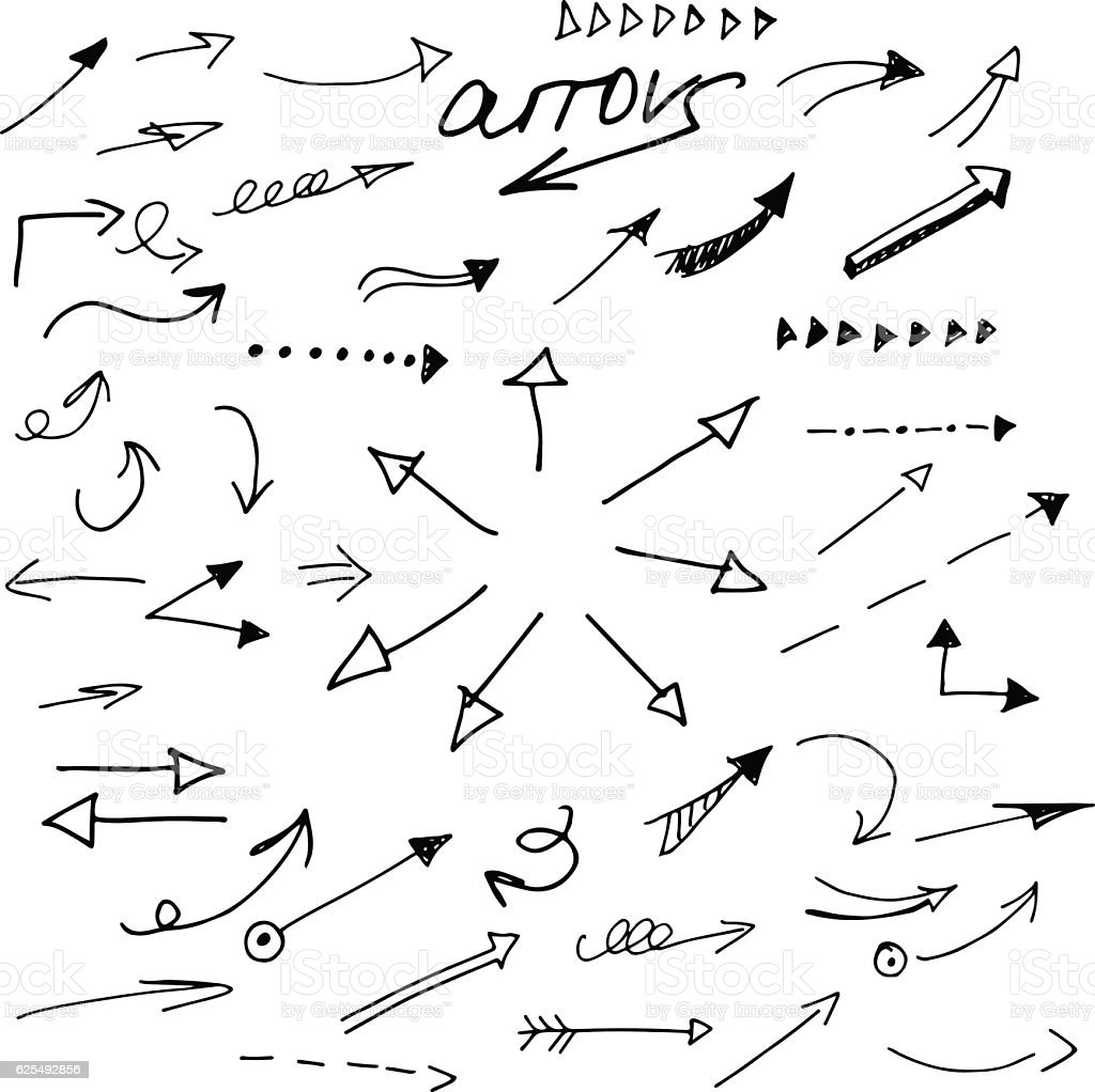 Hand draw pen arrow. Sketch design concept arrow. - Illustration vectorielle