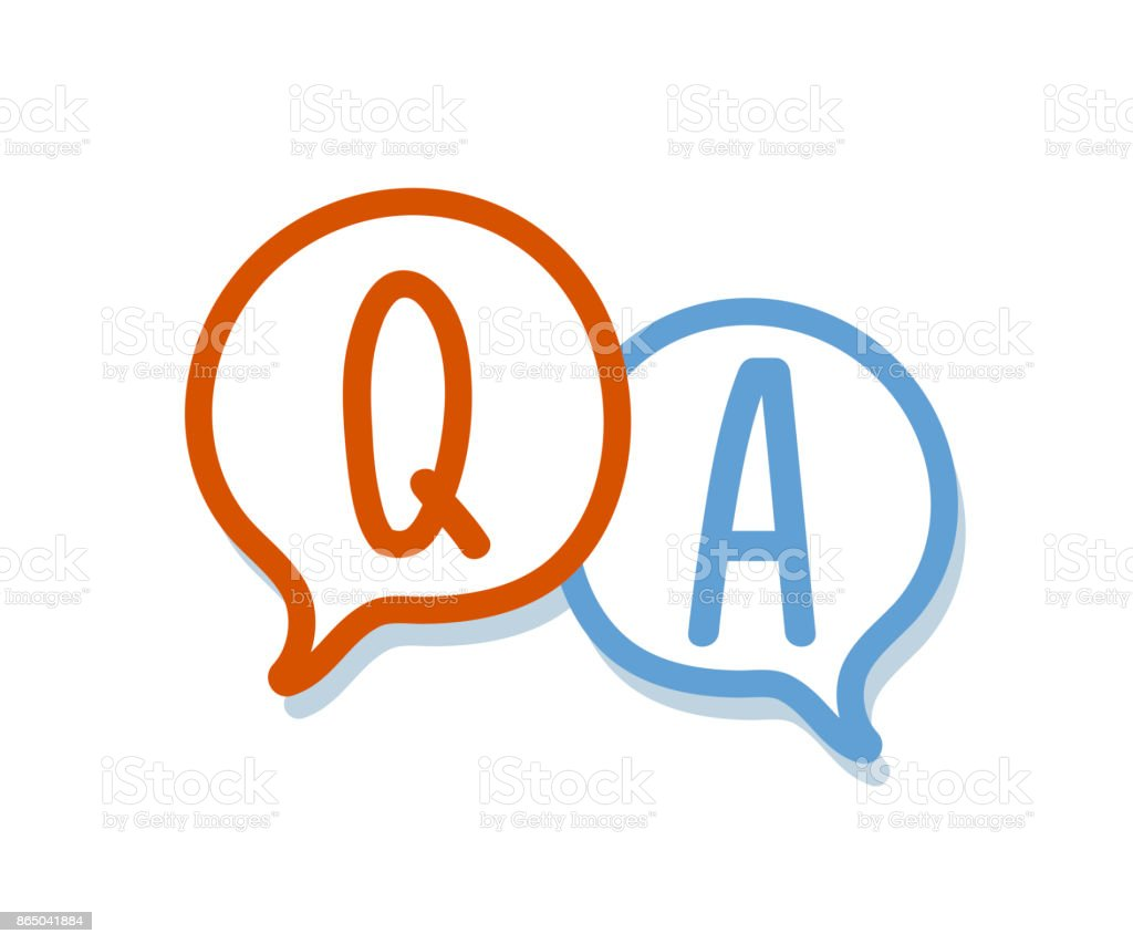 Hand Draw Question And Answer On A Chat Bubble Qa Icon ...
