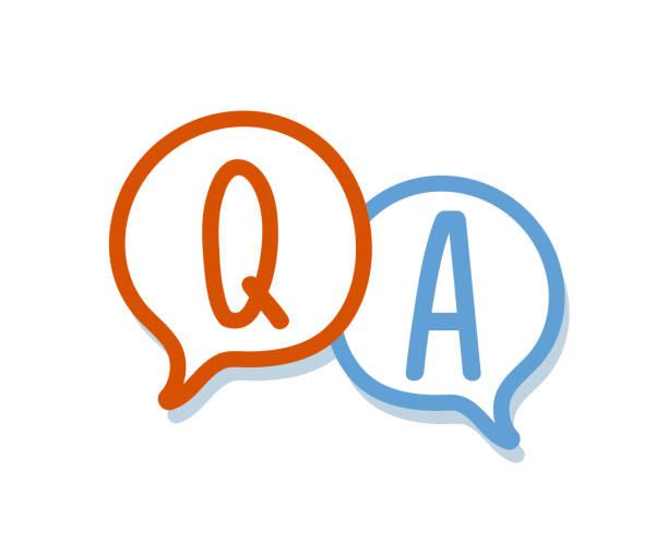 ilustraciones, imágenes clip art, dibujos animados e iconos de stock de mano dibujar pregunta y respuesta en una burbuja de chat. diseño de icono de q&a - faq