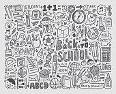 Hand draw school elements doodles