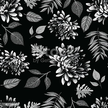 hand draw seamless pattern flower with leaves colored