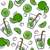 Hand draw seamless pattern glass of mojito, ice cubes, mint leaves, lime slice and whole lime. Alcohol cocktail. Vector illustration in cartoon style. Cold mojito cocktail print