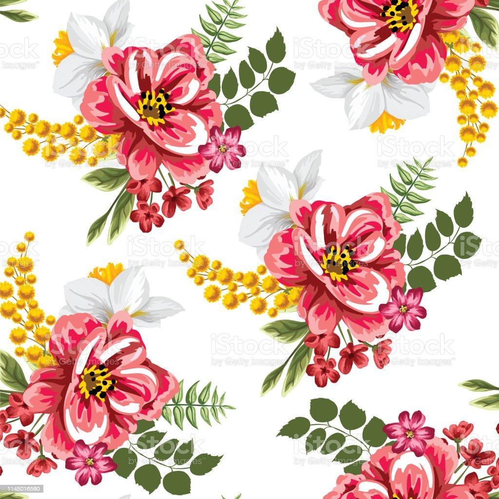 Dessiner à La Main Sans Soudure Couleur Rouge Fleur Vecteur