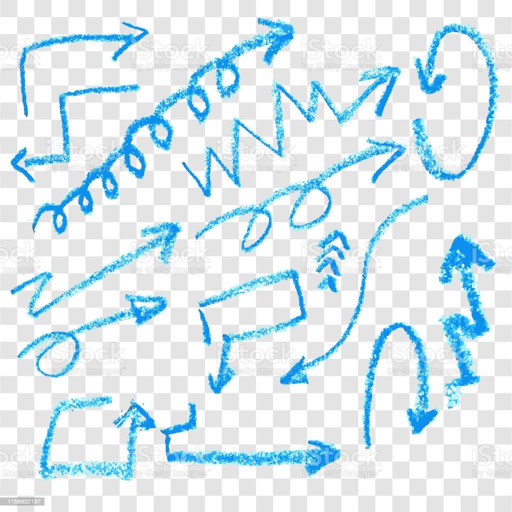 透明な効果の背景にクレヨンと手描きスケッチブルーアロー いたずら書きのベクターアート素材や画像を多数ご用意 Istock