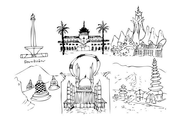 hand zu zeichnen, skizze wahrzeichen und ikonischen indonesien - lombok stock-grafiken, -clipart, -cartoons und -symbole