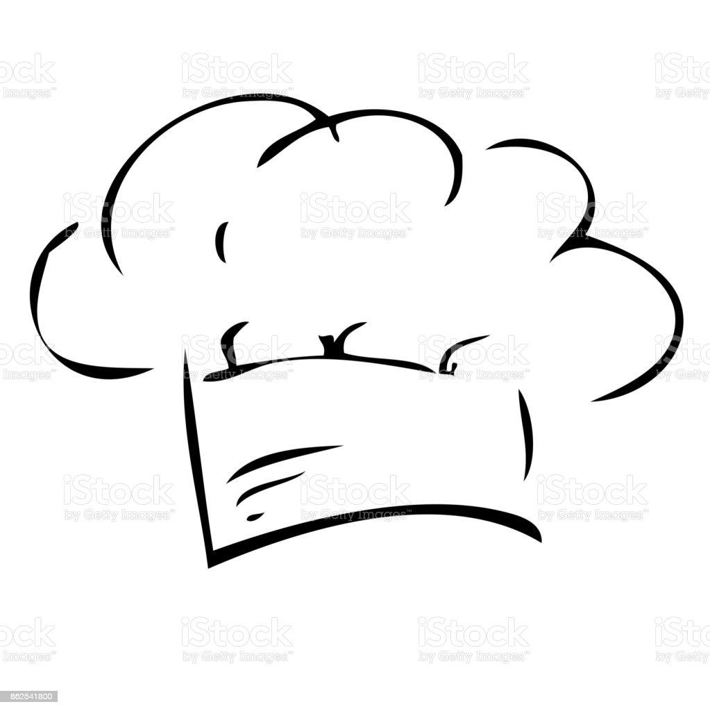 Ilustración de Mano Dibujar Croquis De Gorro De Cocinero Aislado ...
