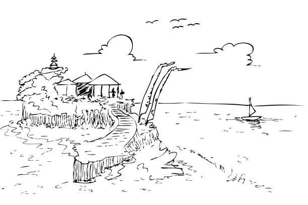 handskizze zeichnen viel land bali strand und tempel, indonesien - denpasar stock-grafiken, -clipart, -cartoons und -symbole