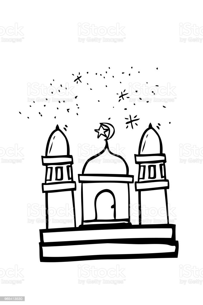 Hand Draw Sketch of Mosque royalty-free hand draw sketch of mosque stock illustration - download image now