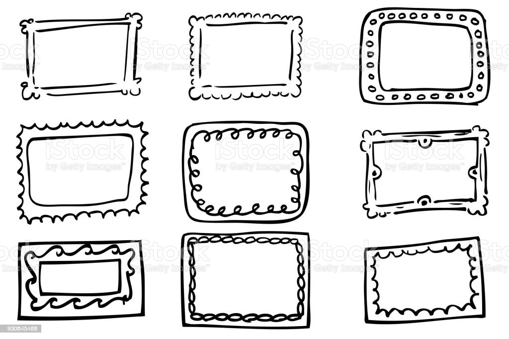 Hand Draw Sketch Of Rectangle Frame Stock Vector Art & More Images ...