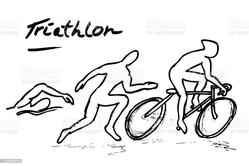 Main Dessiner Esquisse De Triathlon Natation Vélo Et Course