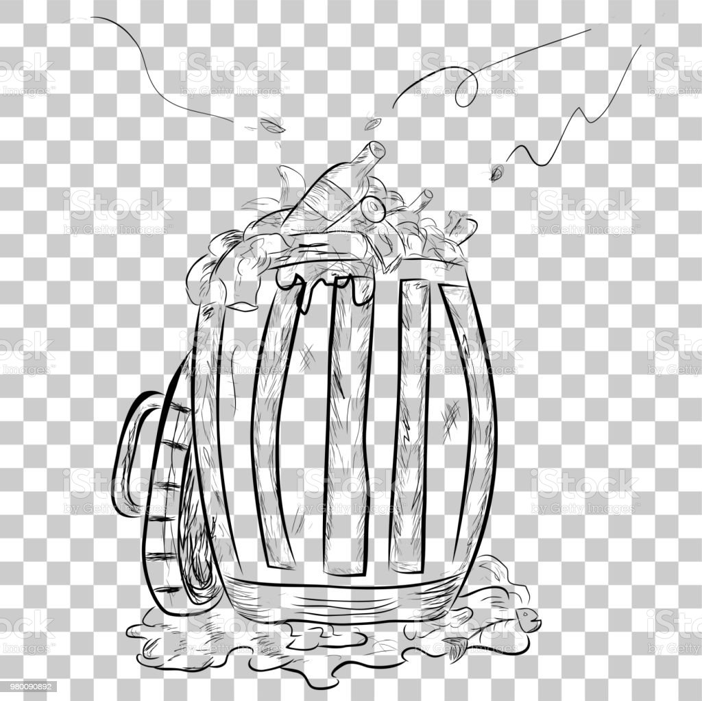 hand draw sketch, Rubbish bin filled with waste  at transparent effect background vector art illustration