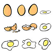 hand draw sketch set of raw and sunny side up chicken egg