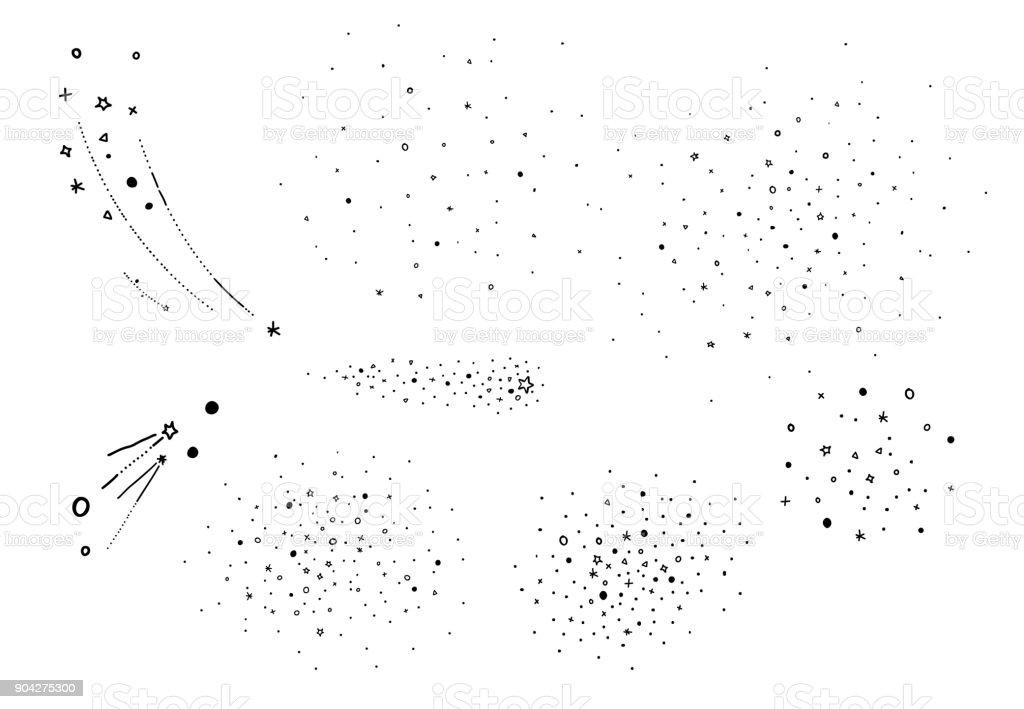 Main Dessiner Des éléments étoilés Amas Détoiles étoiles Filantes éléments De Vecteur Esquissée Pour Illustration De Lunivers Et Lastrologie Style