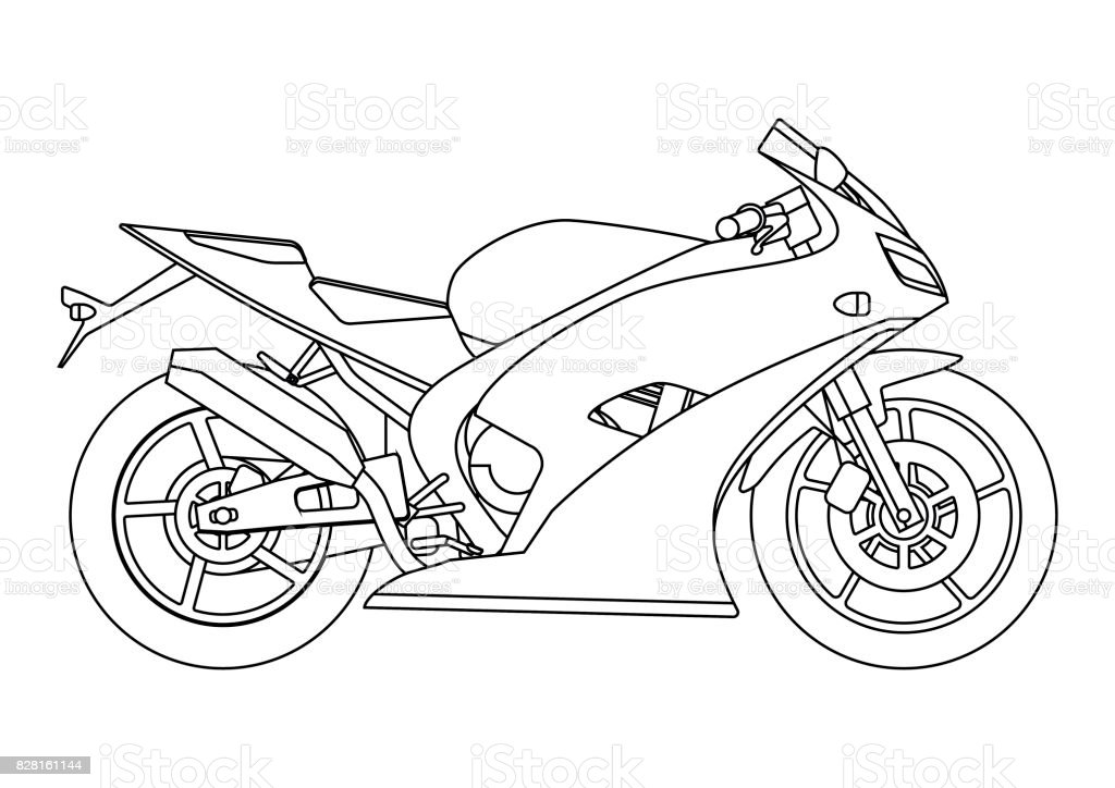 Hand Draw Style Of A Vector New Motorcycle Illustration For Coloring ...