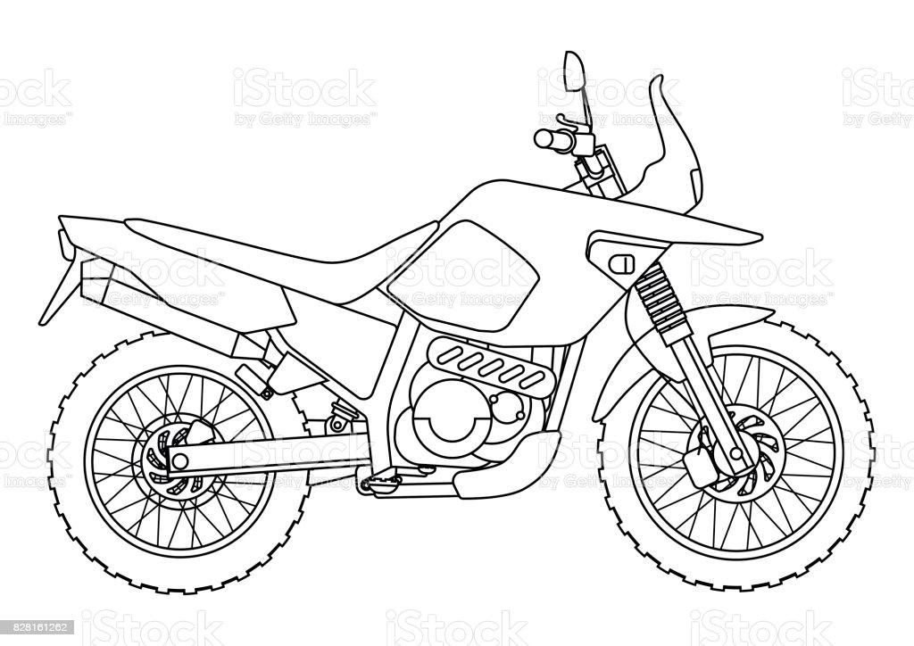 El Boyama Kitabi Icin Bir Vektor Yeni Motosiklet Cizim Tarzi