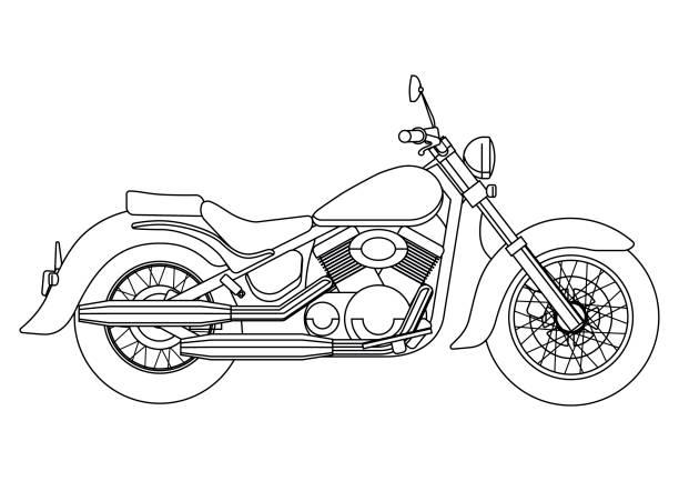 手描塗り絵のベクトルの新しいオートバイ図のスタイル - オートバイ点のイラスト素材/クリップアート素材/マンガ素材/アイコン素材