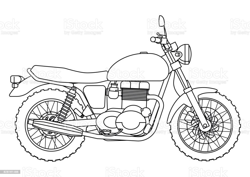 Hand draw style of a vector new motorcycle illustration for coloring book векторная иллюстрация