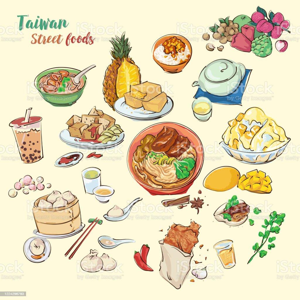 台湾のストリートフードイラストを手描き絵画スタイルによるカラフルなベクター食品 アジア大陸のベクターアート素材や画像を多数ご用意 Istock